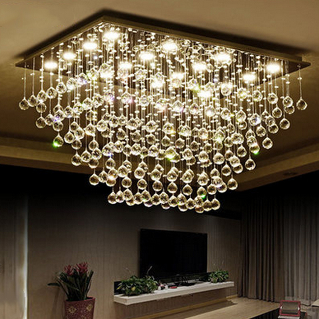 Z Modern LED Clear K9 Crystal Chandelier Livingroom Hanging Lamp Rectangle  Design Bedroom Hall Chandelier Lighting