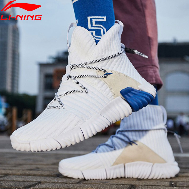 (Clearance) Li-Ning Men WUKONG Lifestyle Shoes High Cut Mono Yarn Re-fit LiNing Sport Shoes Sock-Like Sneakers AGLN131 YXB237