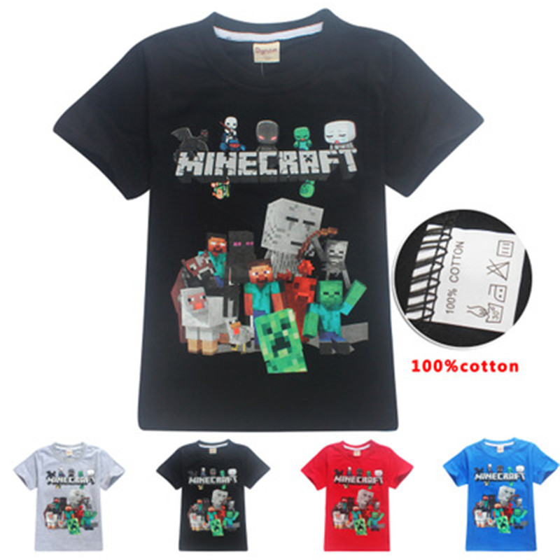 100%Cotton Minecraft costume cosplay Cartoon Childrens clothing Casual Our World Boys Girls Five Nights At C Kids T Shirt baby