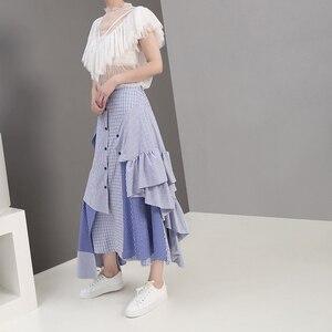 Image 4 - 2019 קוריאני סגנון נשים קיץ סימטרי כחול פסים מקרית חצאית קפלי אלסטי מותניים גבירותיי אופנתי חצאית Robe Femme 5243