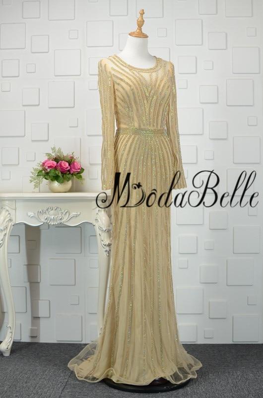 modabelle Ντουμπάι χρυσό φόρεμα με μακρύ - Ειδικές φορέματα περίπτωσης - Φωτογραφία 3