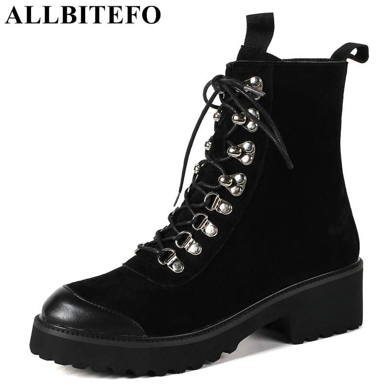 ALLBITEFO/модные брендовые из нубука на толстом каблуке Женские ботинки зимние ботинки Обувь на высоком каблуке ботильоны женские Размер: 34-43