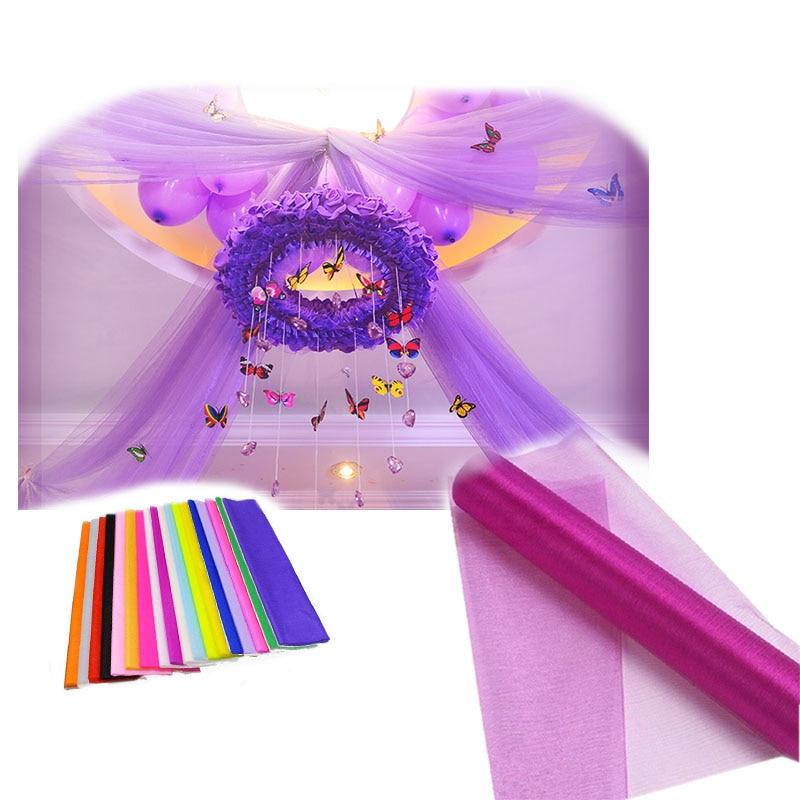 10 M * 48 CM Sheer Crystal Organza Tulle Rollo de Tela Para El - Para fiestas y celebraciones