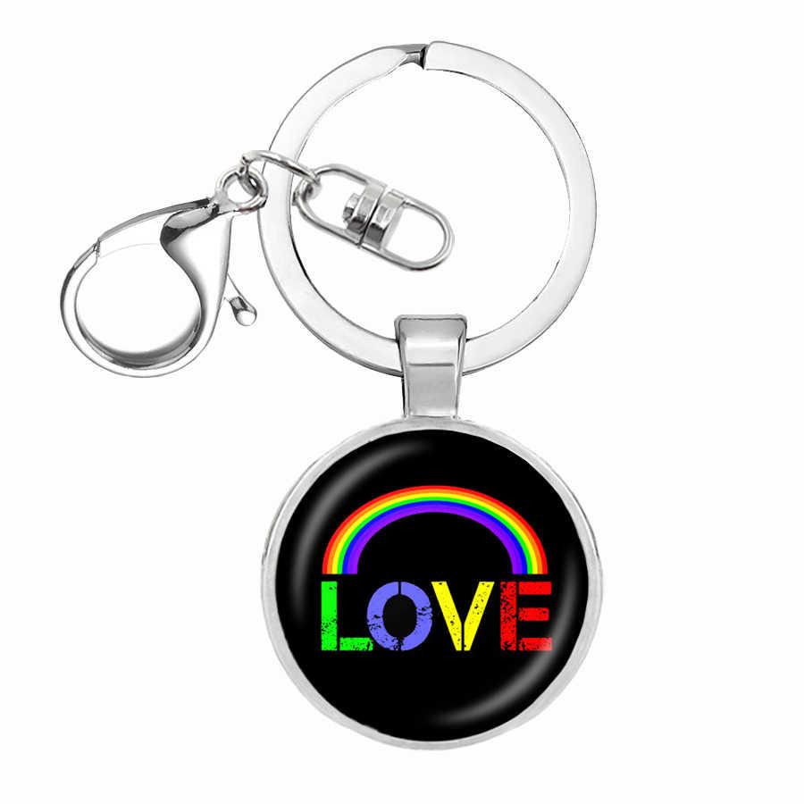 84 estilo banderas de arco iris de cúpula de vidrio llavero lesbianas Gay LGBT orgullo bandera coche llave Cadena de Metal plateado anillo de llave llavero Thanos