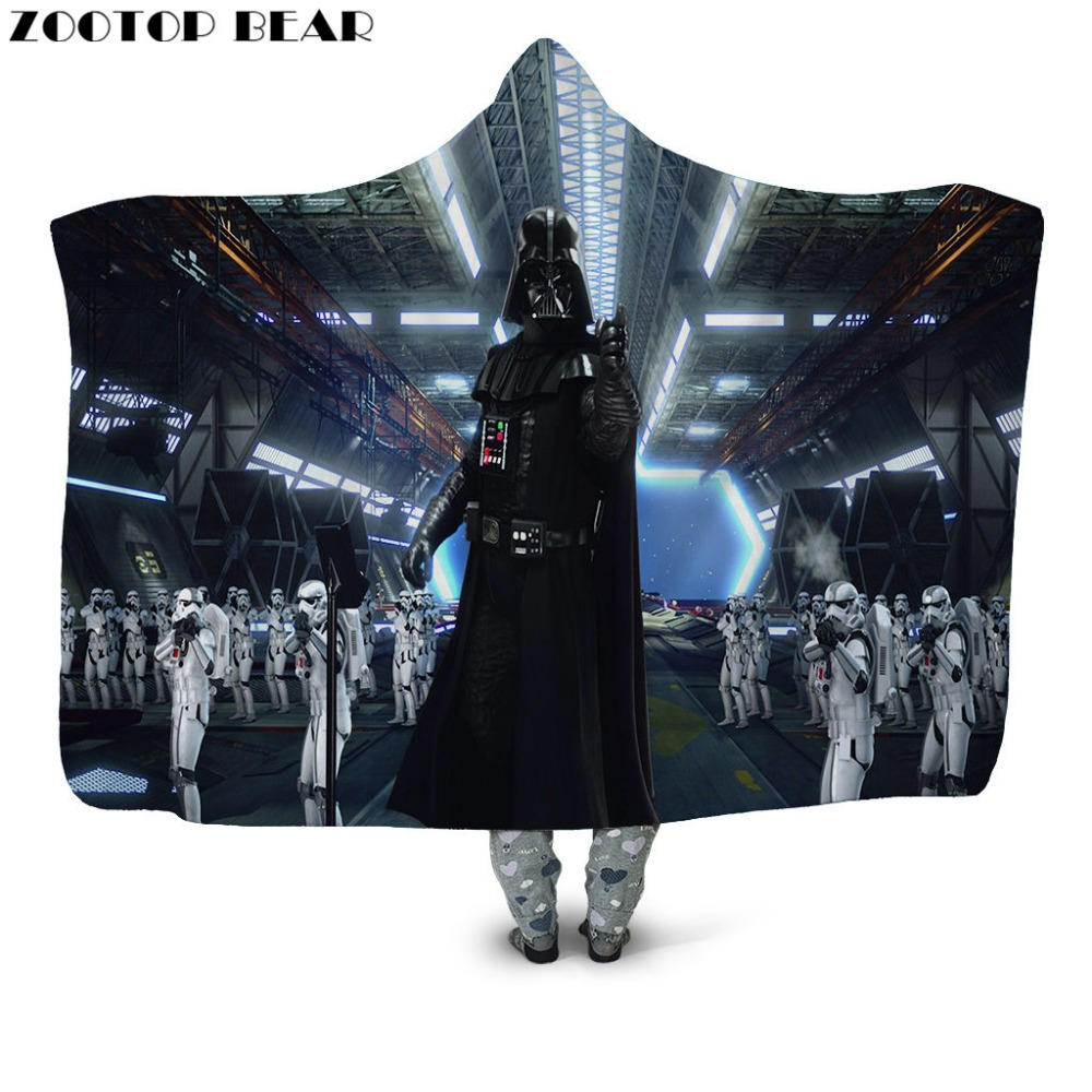 Hot Hooded Blanket Fashion Fleece Star Wars 3D Printed Anime Throw Wearable Bedding Washable Plush Casual Car Soft Office AdultsHot Hooded Blanket Fashion Fleece Star Wars 3D Printed Anime Throw Wearable Bedding Washable Plush Casual Car Soft Office Adults