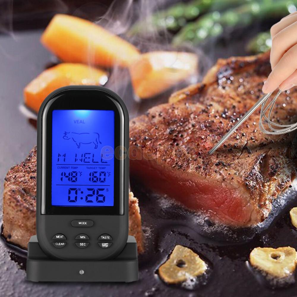 Digital LCD Backlight Wireless Cooking Meat BBQ Thermometer with Probe Timer Black