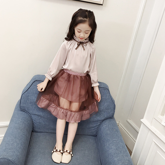 d0d24eaf73d Autumn Fashion Toddler Kids Girl Clothes Set Long Sleeve Princess Silk  Blouses Tops+Mesh Skirt Outfit Child Suit Girls Outfits