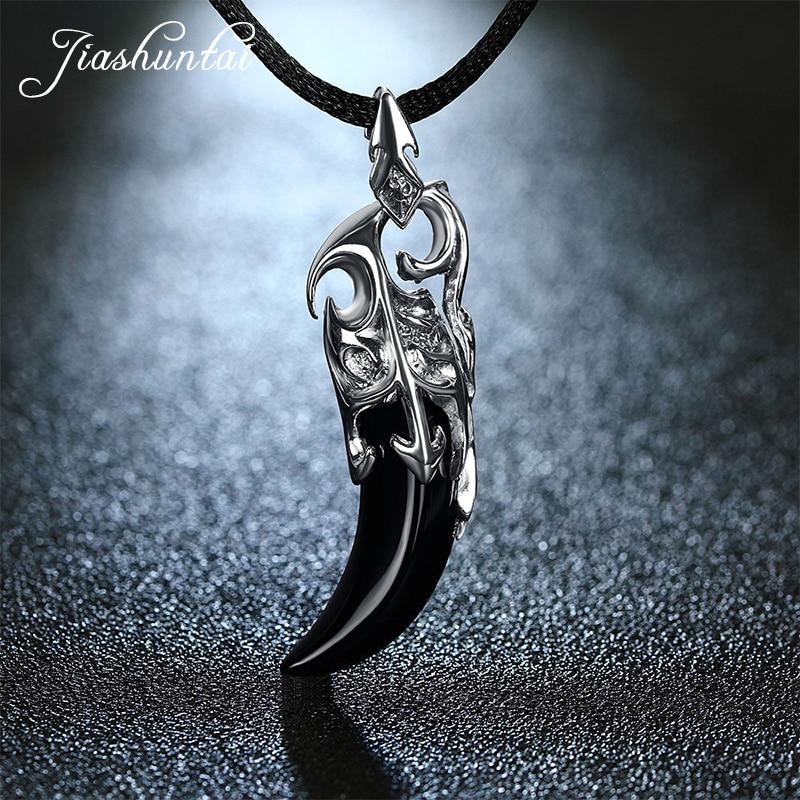 JIASHUNTAI Retro 100% 925 Collar colgante de plata esterlina Piedra negra Lobo Diente Joyería de plata tailandesa para hombres frescos