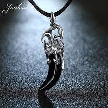 JIASHUNTAI Retro 100% 925 gümüş ayar kolye kolye siyah taş kurt diş tay gümüş takı serin erkekler için