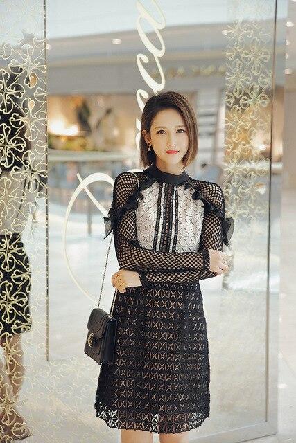 3ab4830c3f07 2017 Spring Summer Self Portrait Geometric Mini Dress Monochrome Lace  Elegant Women Hot Sale