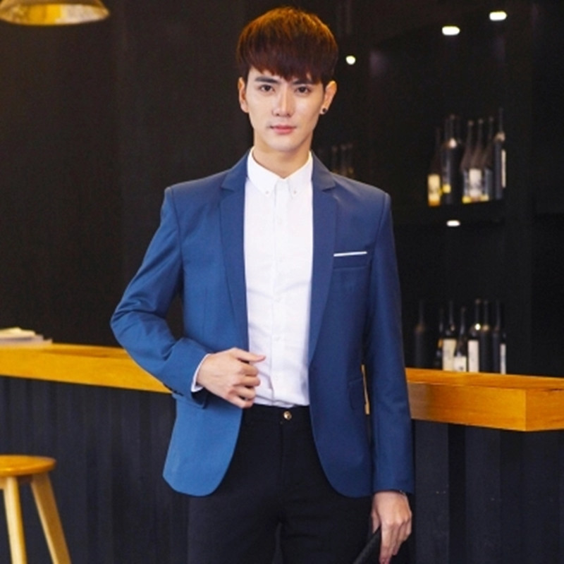 Mens small suit Korean version of Slim casual suit loose British tide coat youth solid business shirt