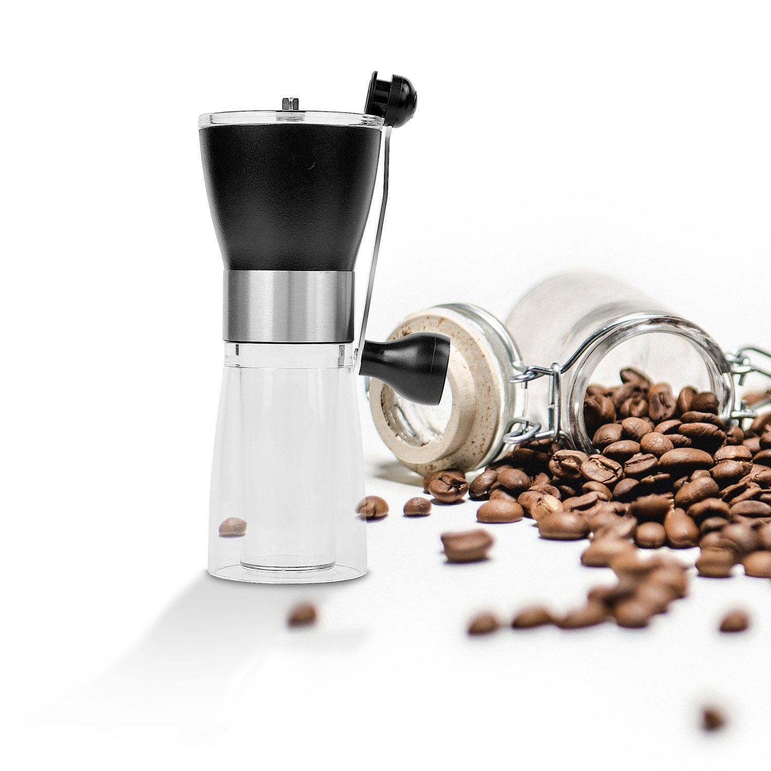 Manual Portable Coffee Grinder With Stainless Steel Handle Hand Crank and Ceramic Burr Mill for Grinding Coffee manual coffee grinder conical burr mill stainless steel portable hand burr grinders