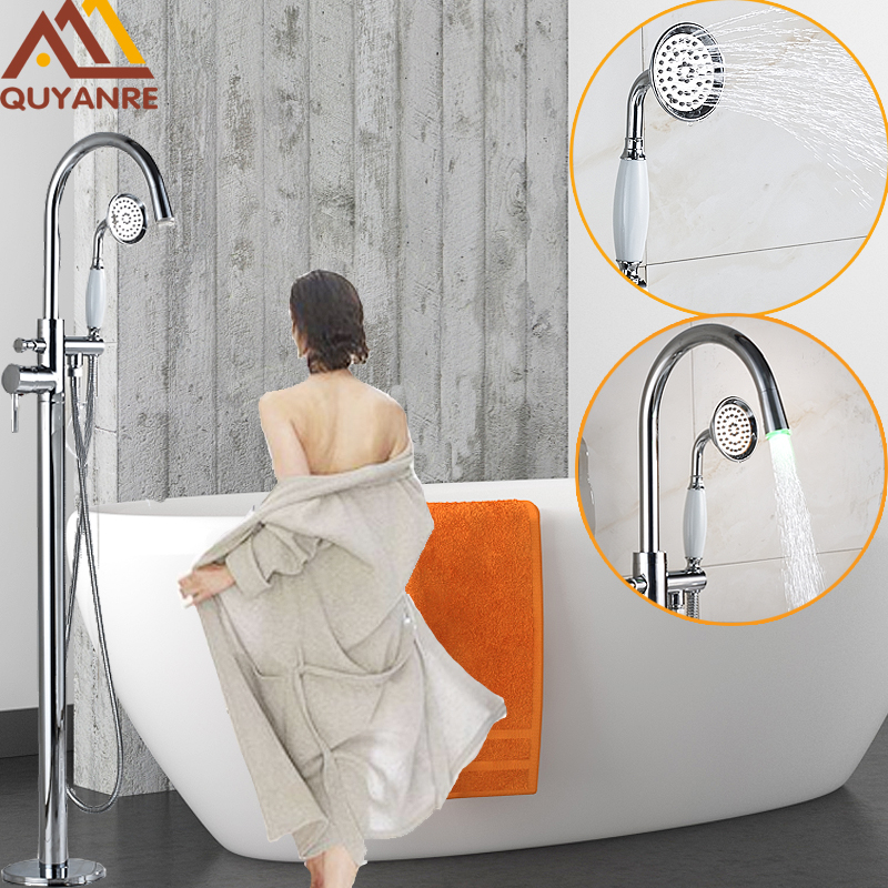 Bright Chrome Solid Brass Floor Standing LED Faucets Waterfall Spout With Handshower Floor Mount Bathroom Tub Shower Mixer Tap