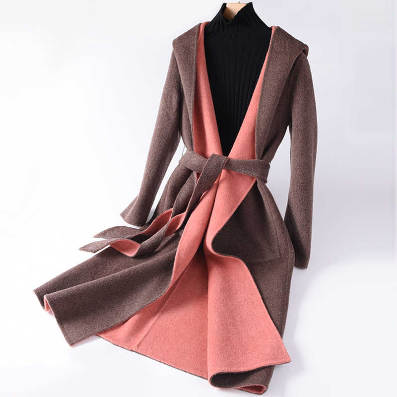 New Hot Lady Wool Coat High Quality Winter Jacket Women Slim Wool Long Cashmere Coat Cardigan Jacket Elegant Slim