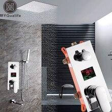 Nueva Pantalla Digital de Temperatura Grifo de la Ducha Cromo Montado En la Pared Grifos Mezcladores de agua Caliente y Fría Oculta Ducha con Ducha de mano