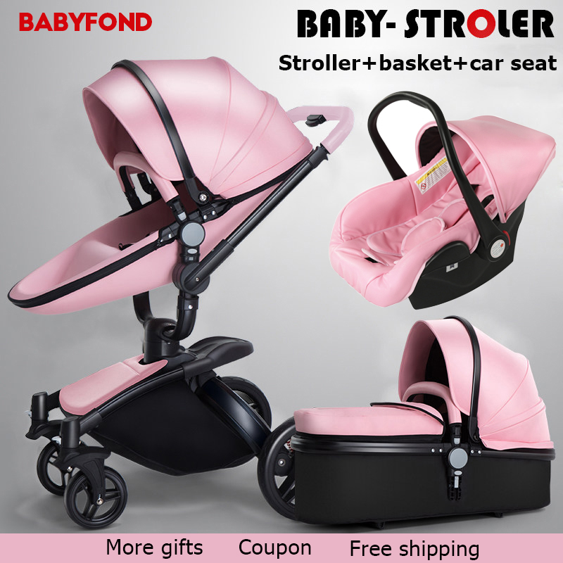 3 in 1 baby stroller High quality 2018 Brand baby car baby umbrella folding light strollers leather four wheels export pram все цены