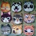 3D chica billetera bolsa señoras cara cremallera mini monederos gato perro de la sacudida niños monedero bolsa de monedas de la bolsa monedero de la moneda; gato de peluche