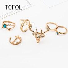 TOFOL 7 Pcs/Set Ring Set Women Head Triangle Drip Arrow Ring Midi Finger Vintage Gypsies Beach Jewelry