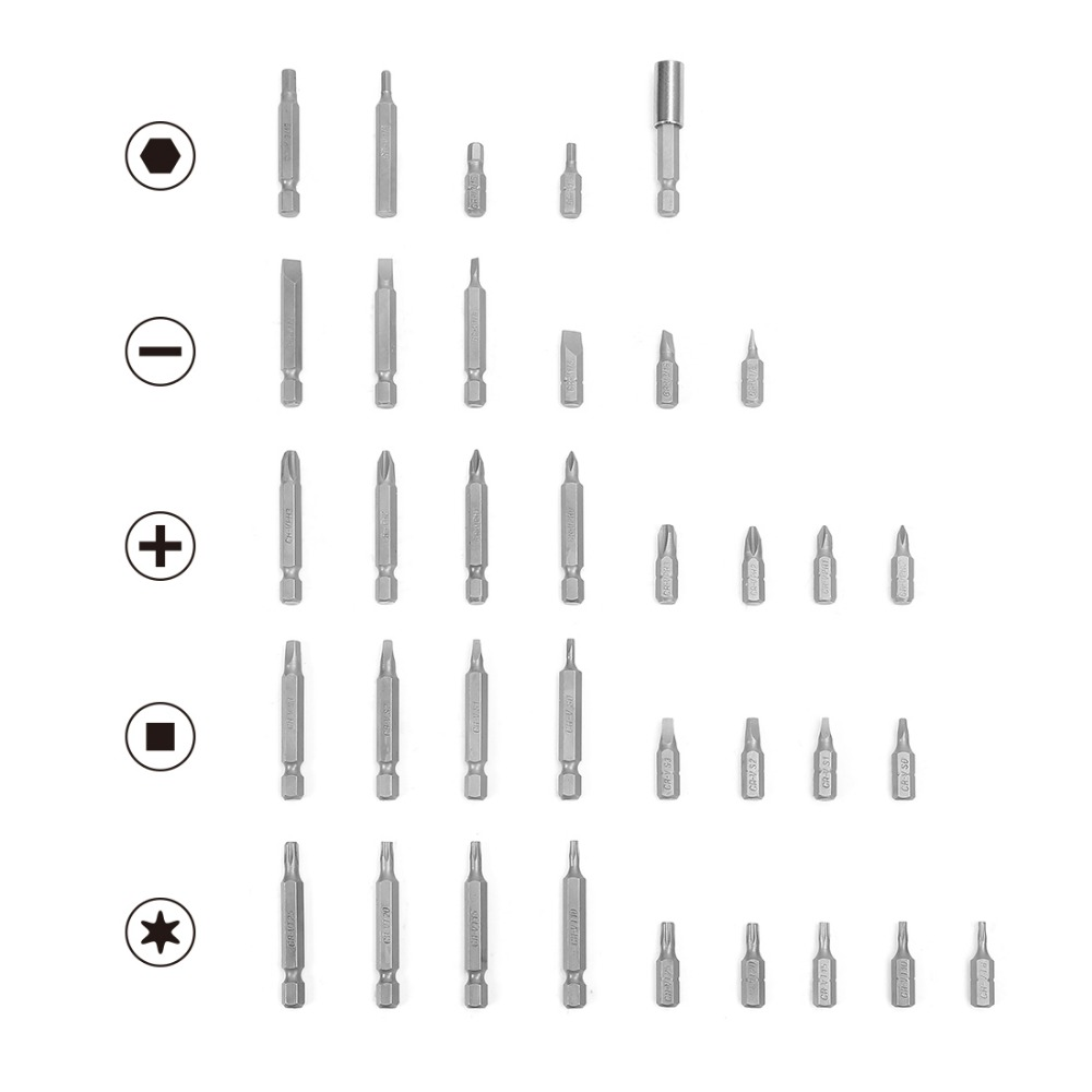Image 2 - WORKPRO 51 piece Screwdriver bits Set multi bits set with Slotted Phillips Torx Hex Bits and Nut DriverScrewdriver   -