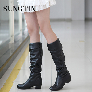 Image 2 - Sungtin 2019 Hot Sale Women PU Leather Knee High Boots Fashion Classic Flat Boots Ladies Autumn Winter Shoes Basic Long Boots