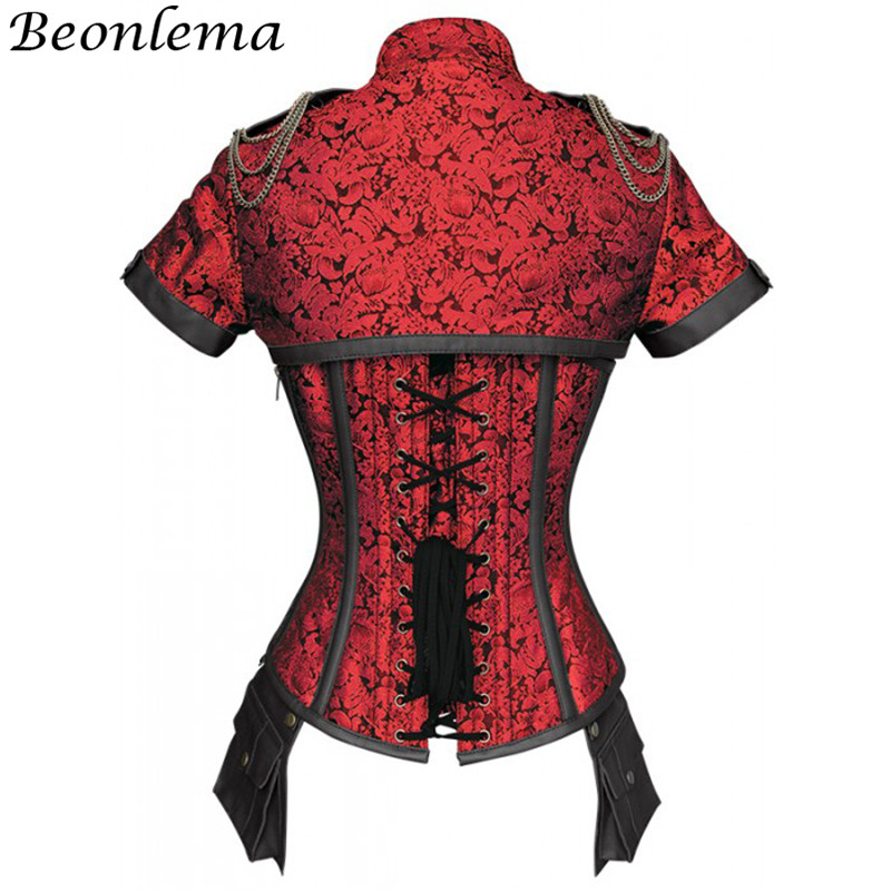 Image 4 - Beonlema Black Red Corsets Steampunk Women Sexy Goth Clothing Steel Bones Overbust Gothic Retro Korse Femme Punk Corset Set-in Bustiers & Corsets from Underwear & Sleepwears
