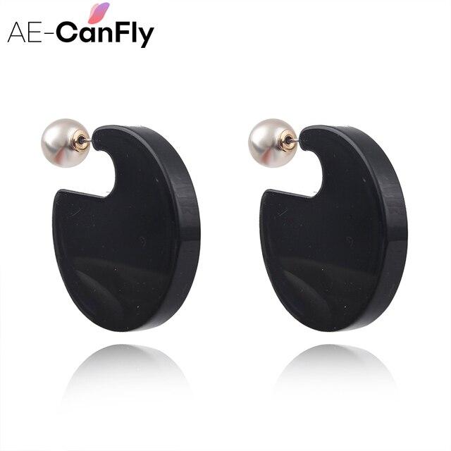 Ae Canfly Modern Geometric G Shape Acrylic Stud Earrings Women Ear Studs Jewelry Whole 1a4004