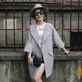 HRM Primavera 2017 de moda de nova Coreano longa seção de um grande lapela casaco feminino casaco grandes estaleiros soltos Primavera fina casaco