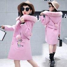 Children's clothing 2018 new winter coat girl coat woolen Korean version of the thicker child in the long coat