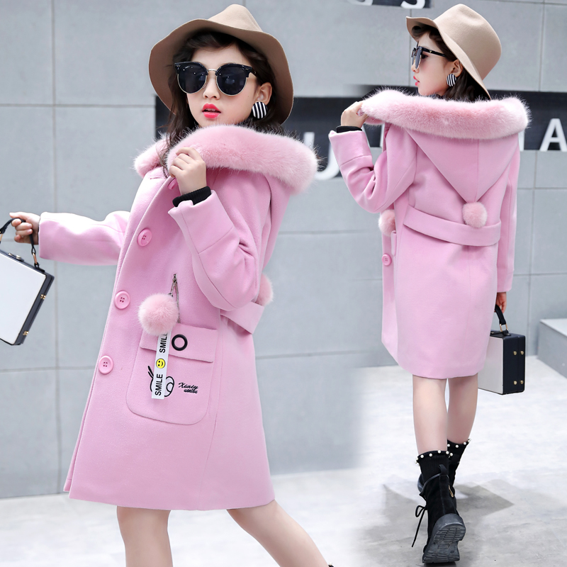Children's clothing 2018 new winter coat girl coat woolen Korean version of the thicker child in the long coat children s woolen coat boy fashion long sleeved hooded 2018 autumn and winter new korean version of the long thick woolen coat
