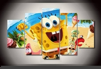 Art Abstract Indoor Decor 20x35cmx2 20x45cmx2 20x55cm Sponge Bob Movie Print Decoration Canvas In 5 Pieces