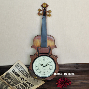 Free shipping The European retro nostalgia Creative watches mute clock music the violin wall clock bedroom living room