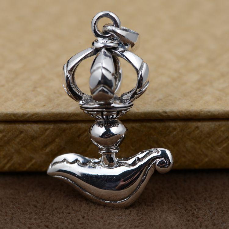 925 argent Sterling artisanat Antique en gros Vajra talisman pour éloigner les mauvais esprits la paix au nom de l'expéditeur