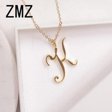 hot deal buy zmz 50pcs/lot 2018 europe/us fashion english letter pendant lovely letter k text necklace gift for mom/girlfriend party jewelry