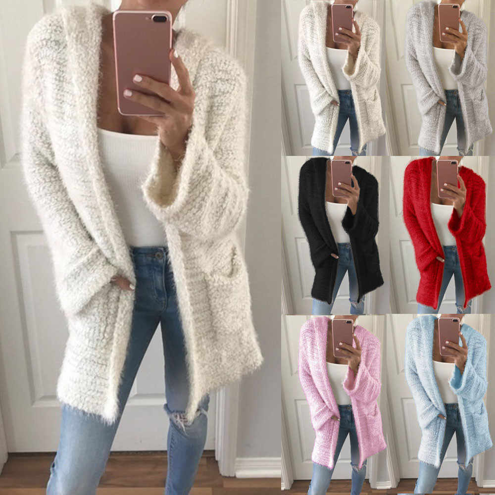 2018 Womens winter Fashion solid Coat Nieuwe Hooded Knit Vest Pocket overjas Lange Mouwen Casual Losse Warme mantel 9.3