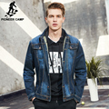 Pioneer Camp men denim jacket brand clothing 100%cotton casual mens jean jacket dark blue solid coat male Autumn Spring 566351