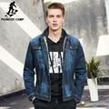 Pioneer Camp men denim jacket brand clothing 100%cotton casual mens jean jacket dark blue solid coat male Autumn Spring 566351