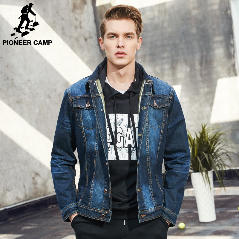 Pioneer Camp nouveau classique denim veste hommes marque vêtements 100% coton casual hommes jean veste bleu foncé solide manteau mâle 566351