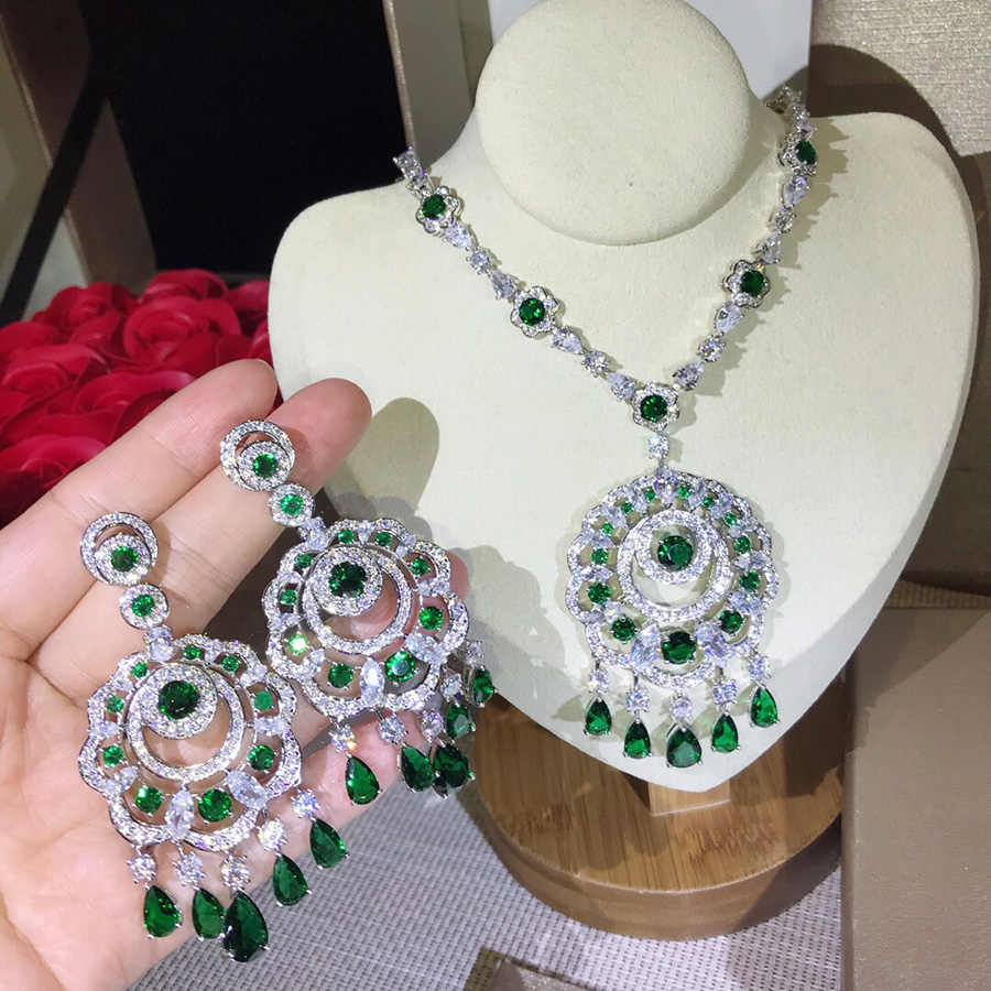 Luxury Brand High Fashion Party Wedding Jewelry Set For Women In Dubai Charms Green Crystal Zircon Earring Necklace Set