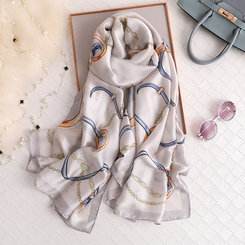 2020 Summer Autumn Silk Scarf Women Classic Chain Print Shawls And Wraps Long Large Travel Pashmina Ladies Foulard Headban Hijab