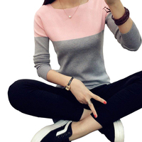 OLGITUM High Elastic Knitted Sweater Women 2017 Spring Autumn Split Women Sweaters And Pullovers Female Pink