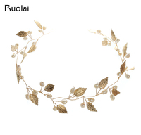 Vintage Gold Leaves Bridal Handmade Headpiece Pearls Beaded Jewelry Floral Wedding Veil Wedding Accessories Headband FH2