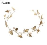 Zabytkowe Złota Pozostawia Bridal Handmade Perły Zroszony Biżuterię Kwiatowe Akcesoria Ślubne Welon Ślubny Pałąk Chluba FH2