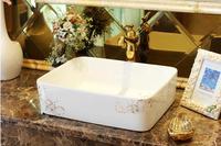Фарфор Ванная комната прямоугольный умывальник Lavabo столешницей бассейна ручная роспись art мытья судна LGQ02170