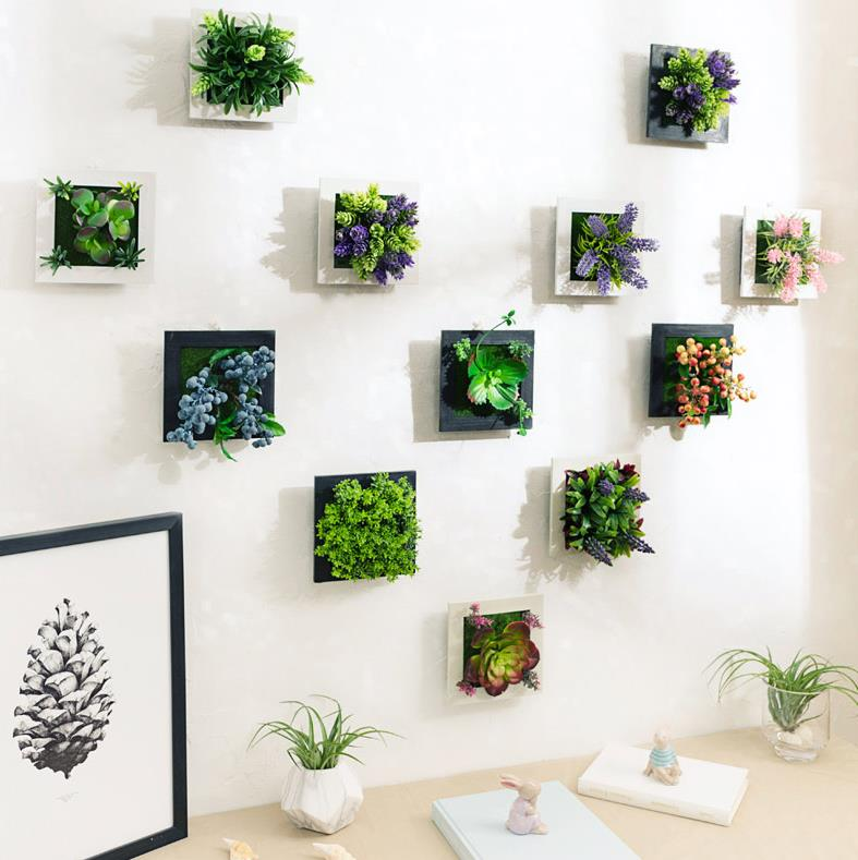 Home Creative Decor3DSimulation Plant Frame Artificial Flowers Plants Table Decoration Wall Mounted Sculptures/plantflowergarden