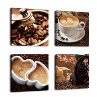 Kitchen Canvas Art Coffee Bean Coffee Cup Canvas Prints Wall Art Decor 4 Panels Modern Contemporary Pictures for Dining Home