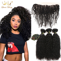 13*4 Ear To Ear kinky curly Lace Frontal Closure With 3 Bundles Brazilian Virgin Hair Curly Wave Bundles Human Hair Extension
