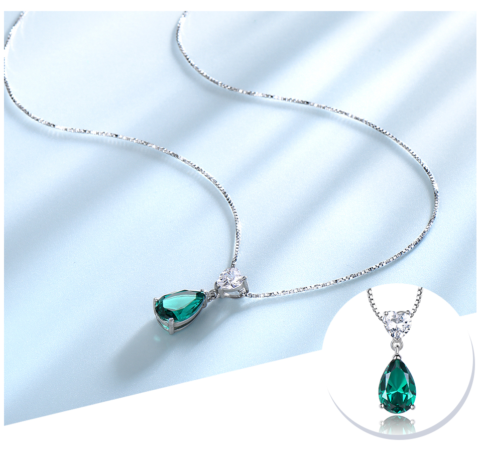 UMCHO ?Emerald   925 sterling silver necklace for women NUJ059E-1-pc (4)