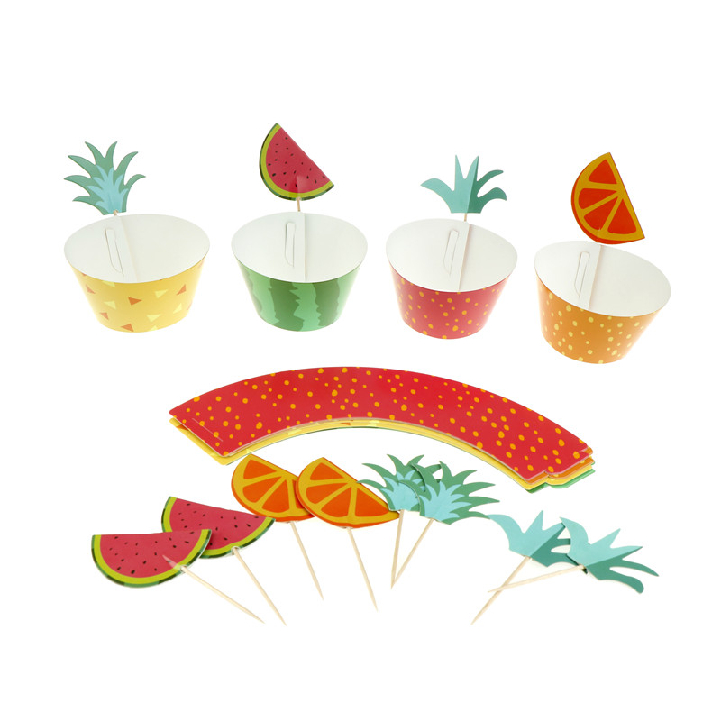 24pcs Fruit Platter Series Cake Toppers Cake Decor Wedding/Summer Pool Kid Birthday Party Decoration High Quality