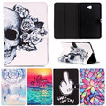 Cartoon Flower Skull Pattern PU Leather Stand Smart Case for Samsung Galaxy Tab A A6 10.1 2016 T585 T580 T580N Gen Tablet Cover