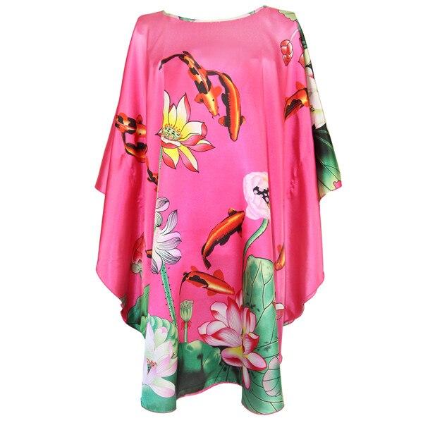 Hot Pink Women's Silk Rayon Robe Gown Chinese Style Printed Nightdress Kimono Kaftan Gown Peacock Sleepwear Plus Size 6XL R001-B